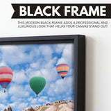 Hot air balloon canvas art black floating frame