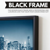 Night in New York wall art black floating frame