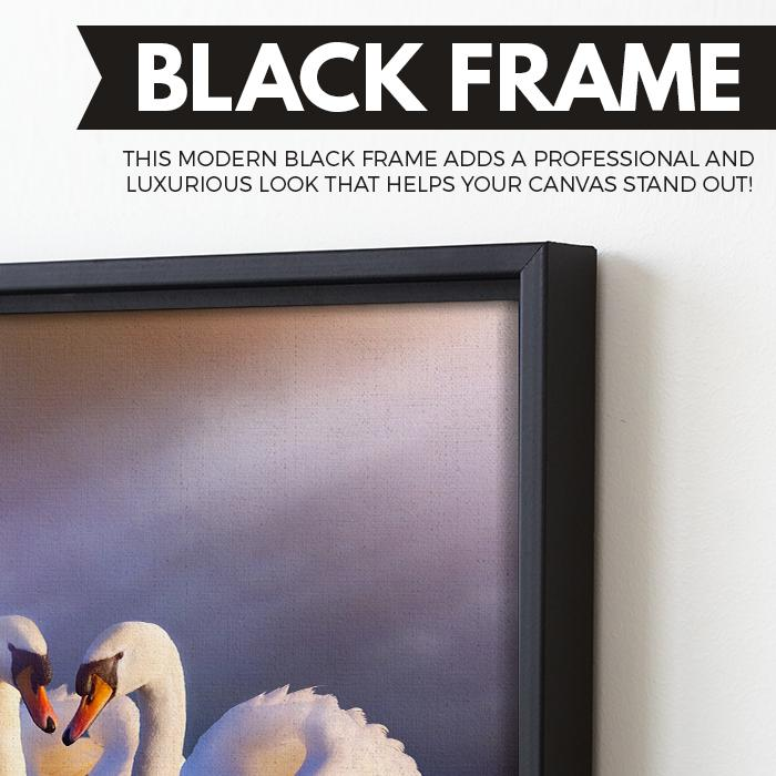 Swans in Love wall art black floating frame