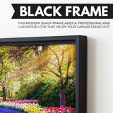 Flower garden wall art black floating frame
