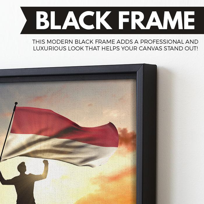 Indonesia Flag wall art black floating frame
