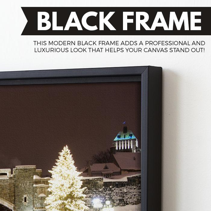 Winter In Quebec City wall art black floating frame