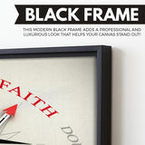 Point on Faith wall art black floating frame