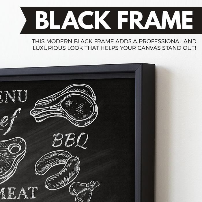 Menu wall art black floating frame