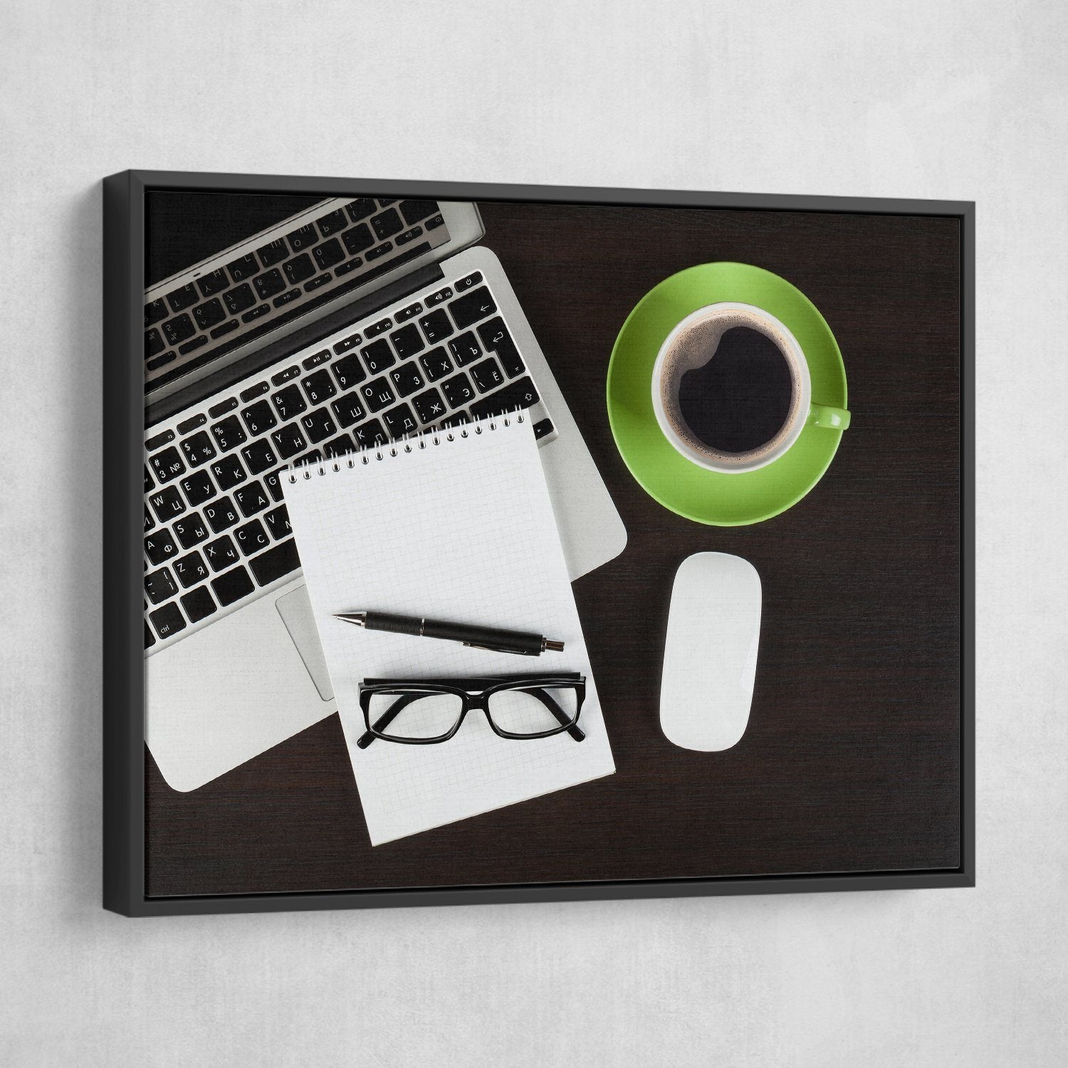 Coffee Break wall art black floating frame
