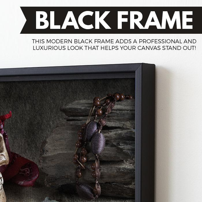 pirate skull art black floating frame