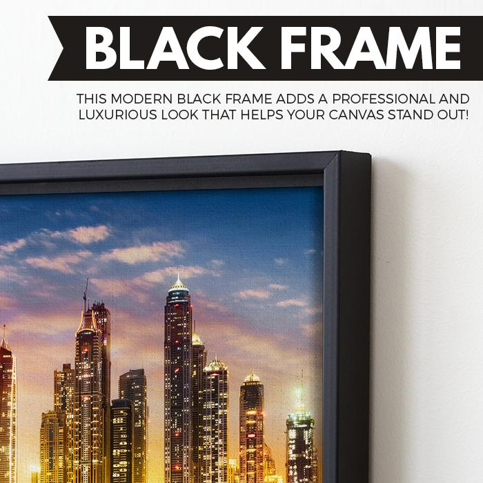 Dubai Marina Skyline wall art black floating frame
