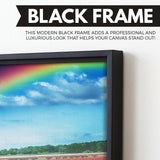Rainbow Over Tulips wall art black floating frame