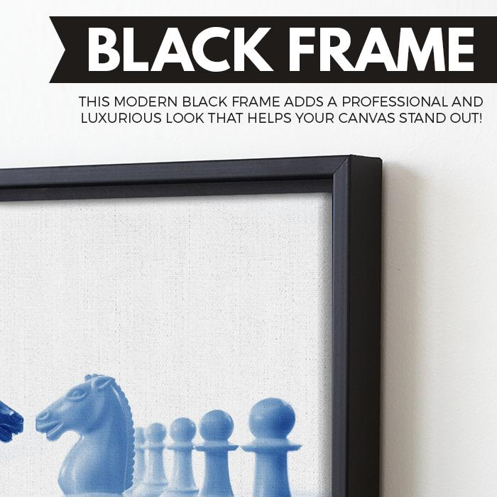Chess Knight wall art black floating frame