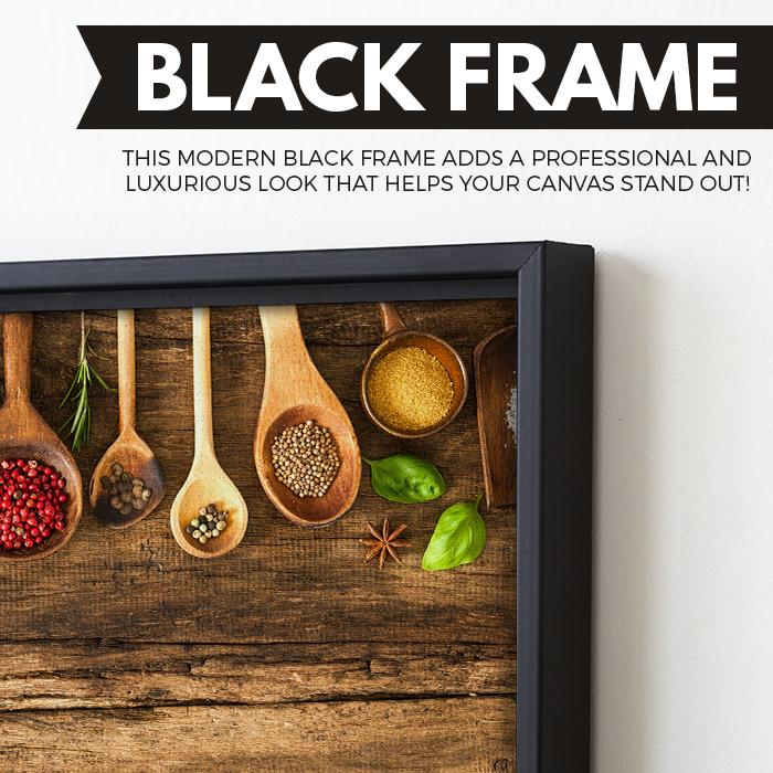 Various Colorful Spices wall art black floating frame