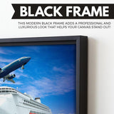 airplane over cruise ship wall art