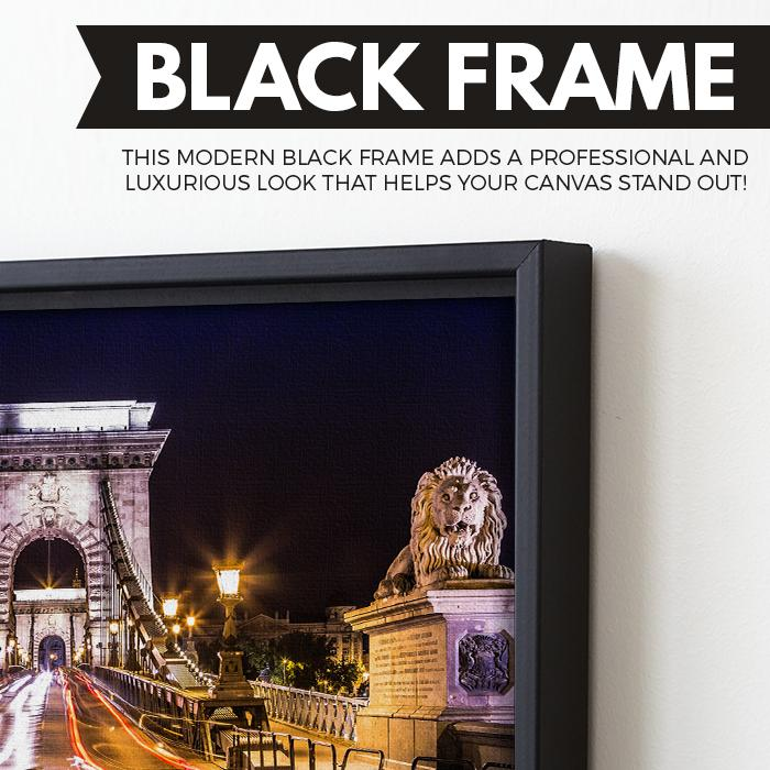 City of Budapest wall art black floating frame