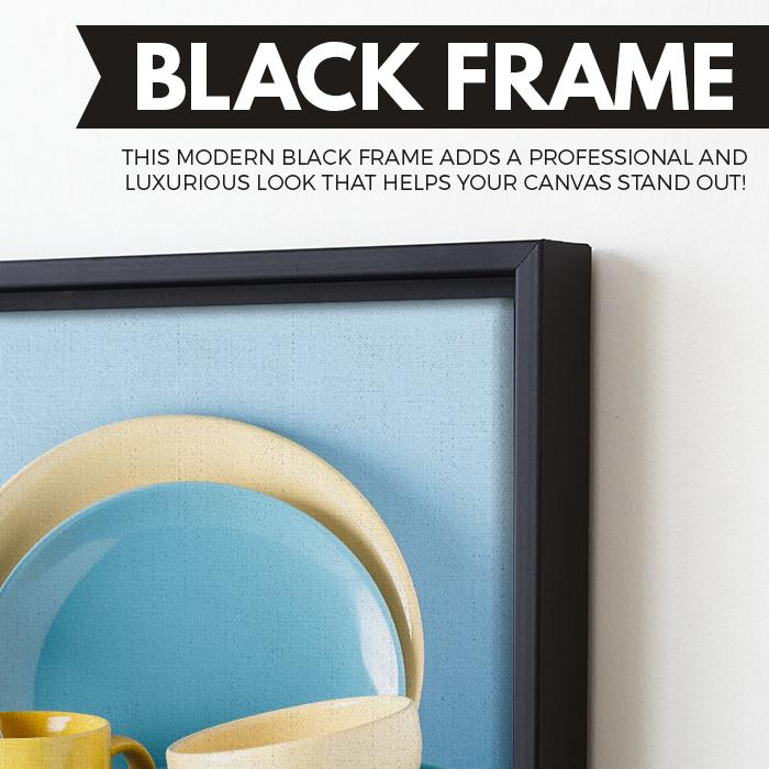 Crockery and Cutlery art black floating frame