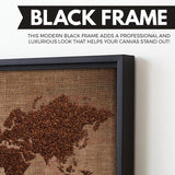 Coffee world map wall art black frame