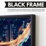 Road Night Lights wall art black floating frame