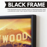 Hollywood wall art black floating frame