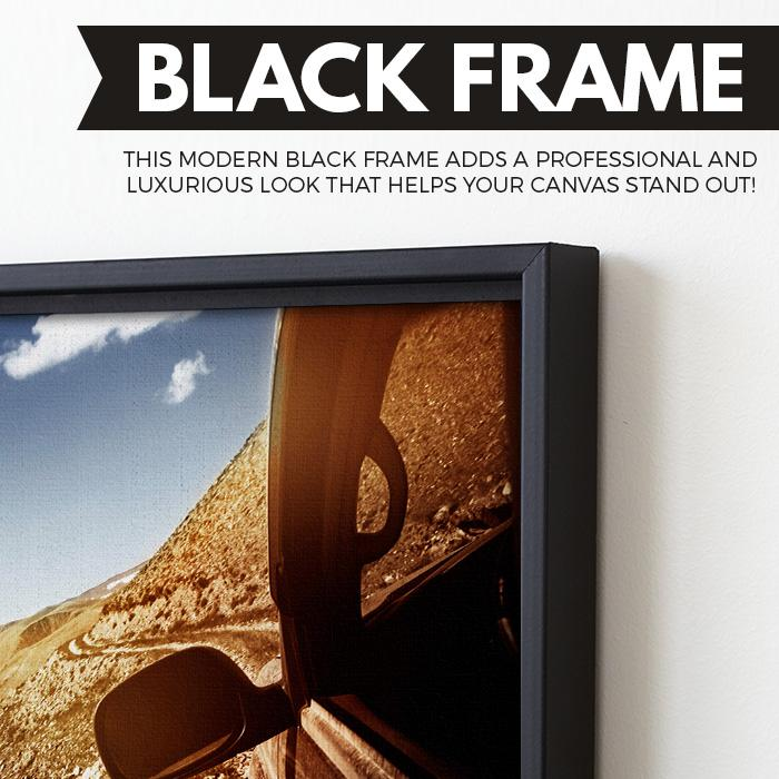 Car in a Mountain wall art black floating frame