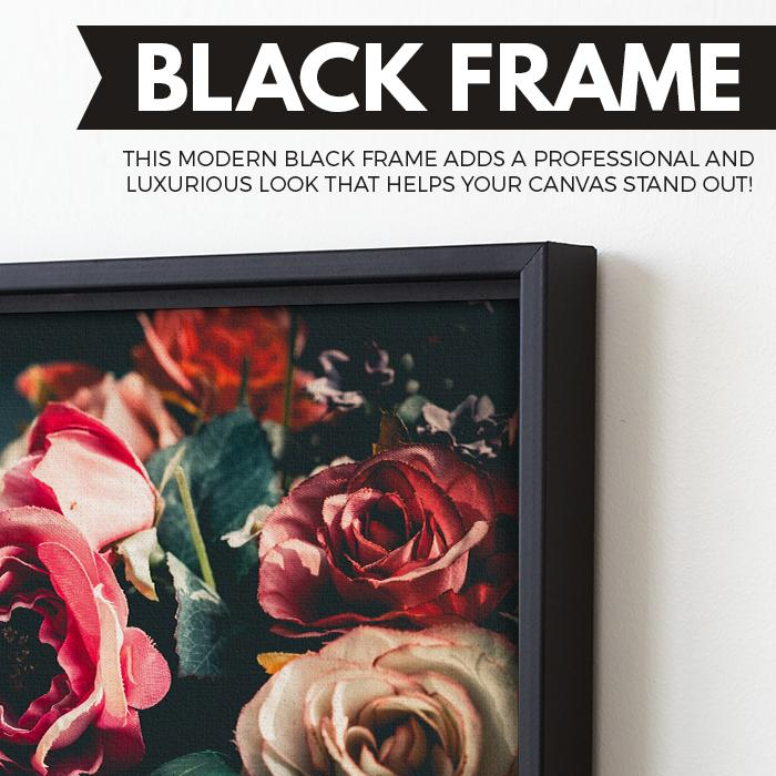 Retro Floral art black floating frame
