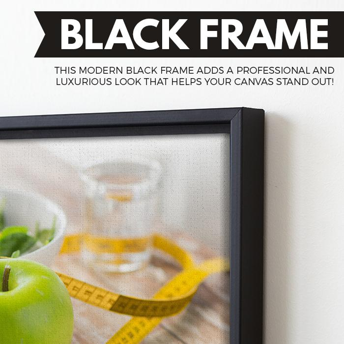 Green Apple wall art black floating frame