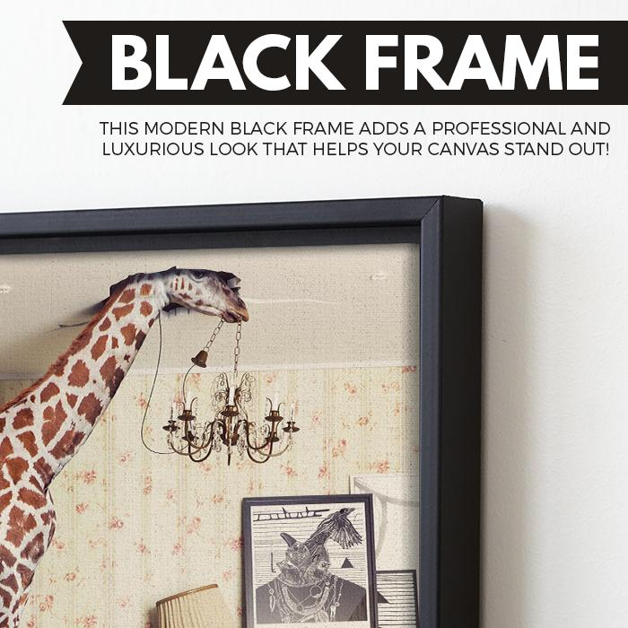 Giraffe canvas art black floating frame