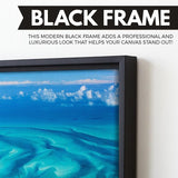 Beautiful Bahamas wall art black floating frame