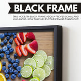 Sliced Fruits canvas art black frame