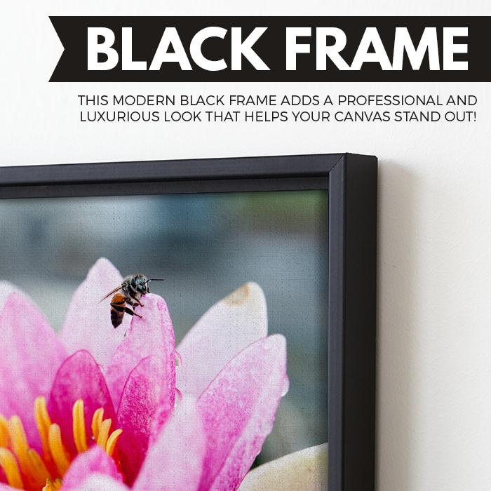 Lotus And A Bee art black frame