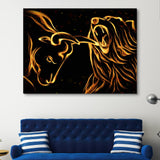 Flame Bull vs Bear wall art