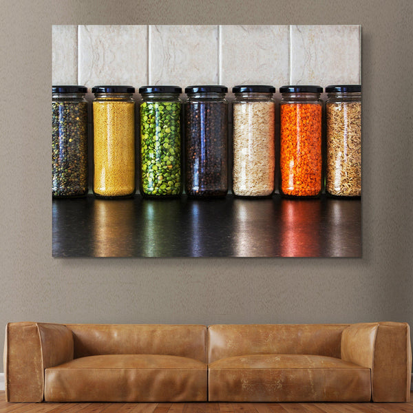 Seeds and Pulses in Jars wall art