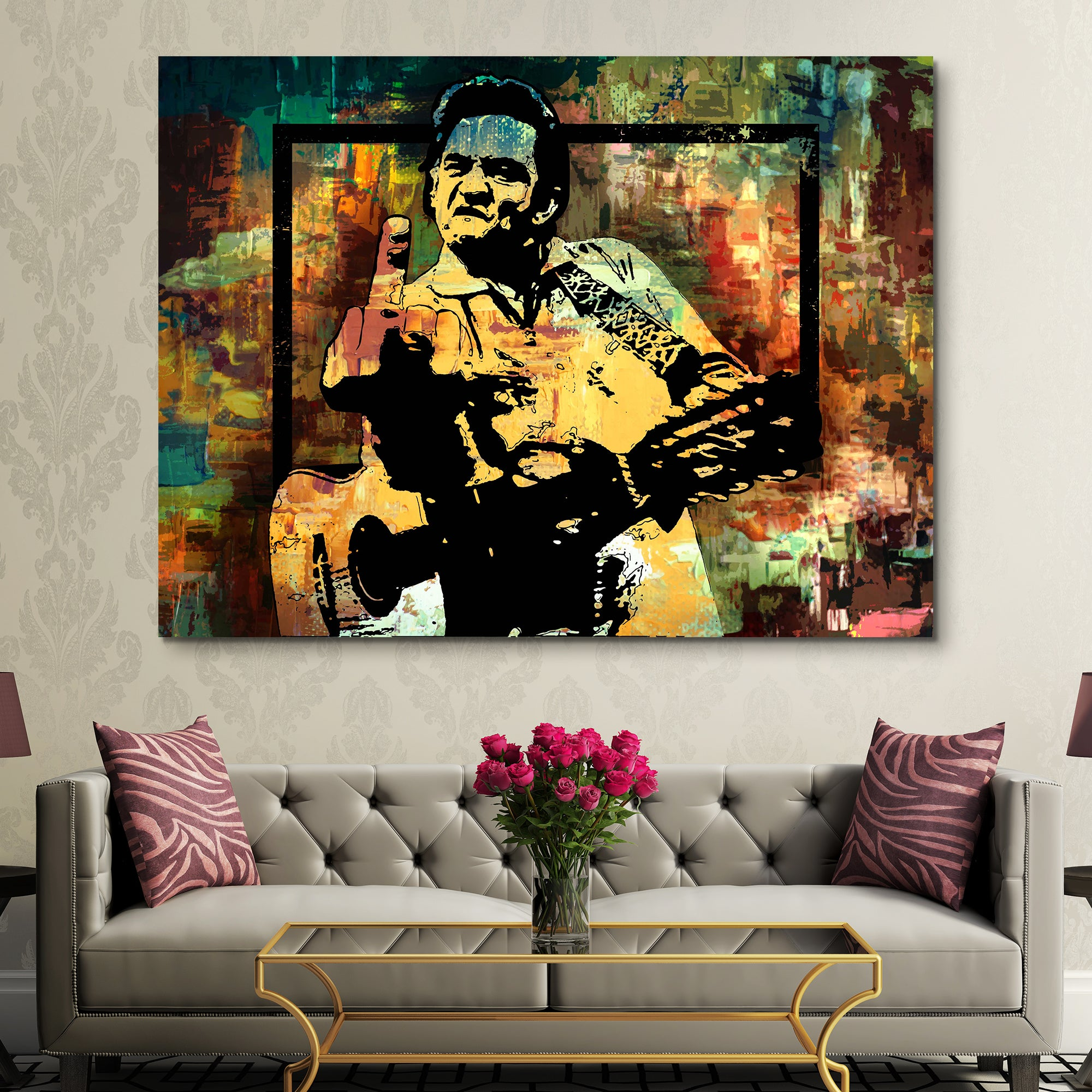 Johnny Cash Middle Finger wall art