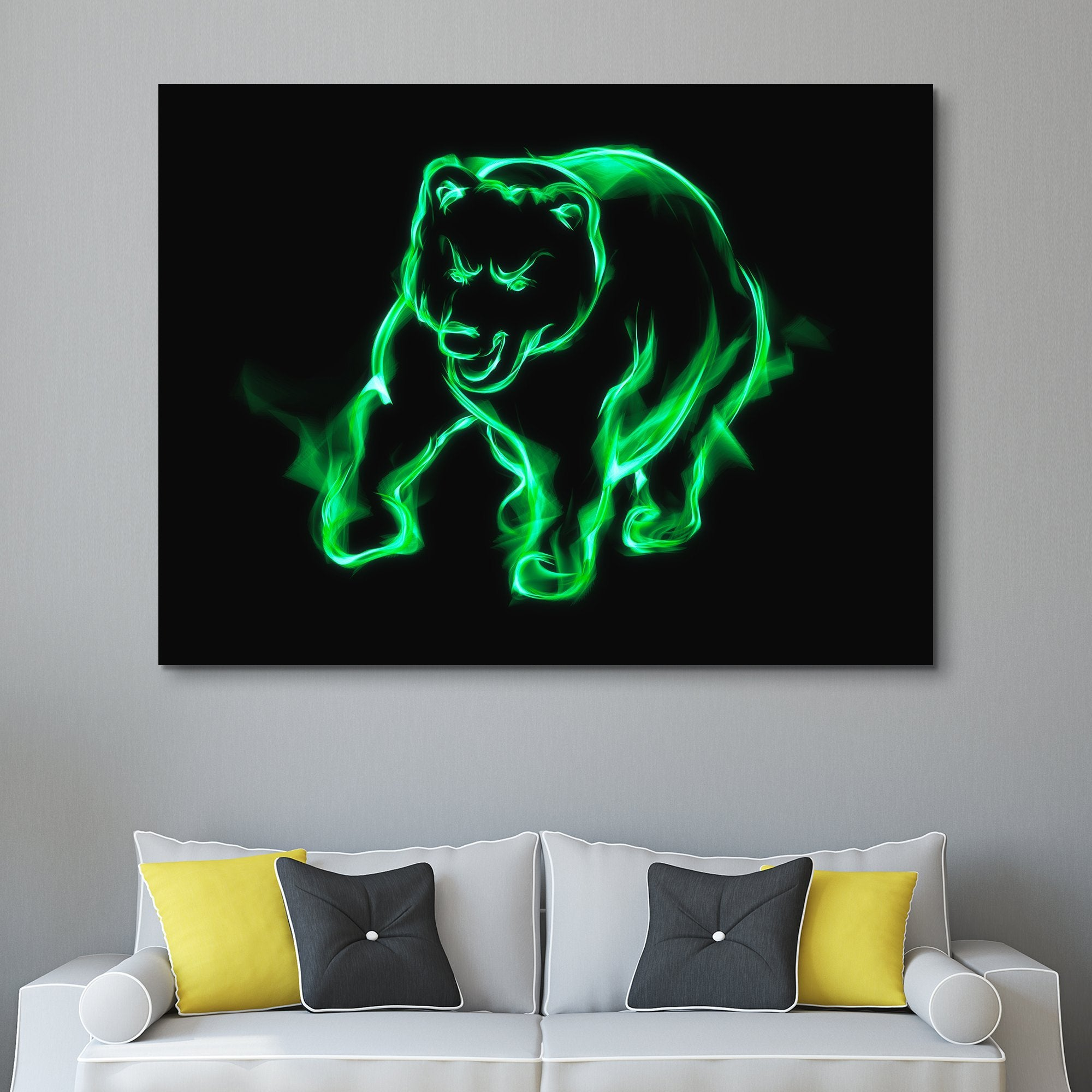 Money Green Flaming Bear wall art