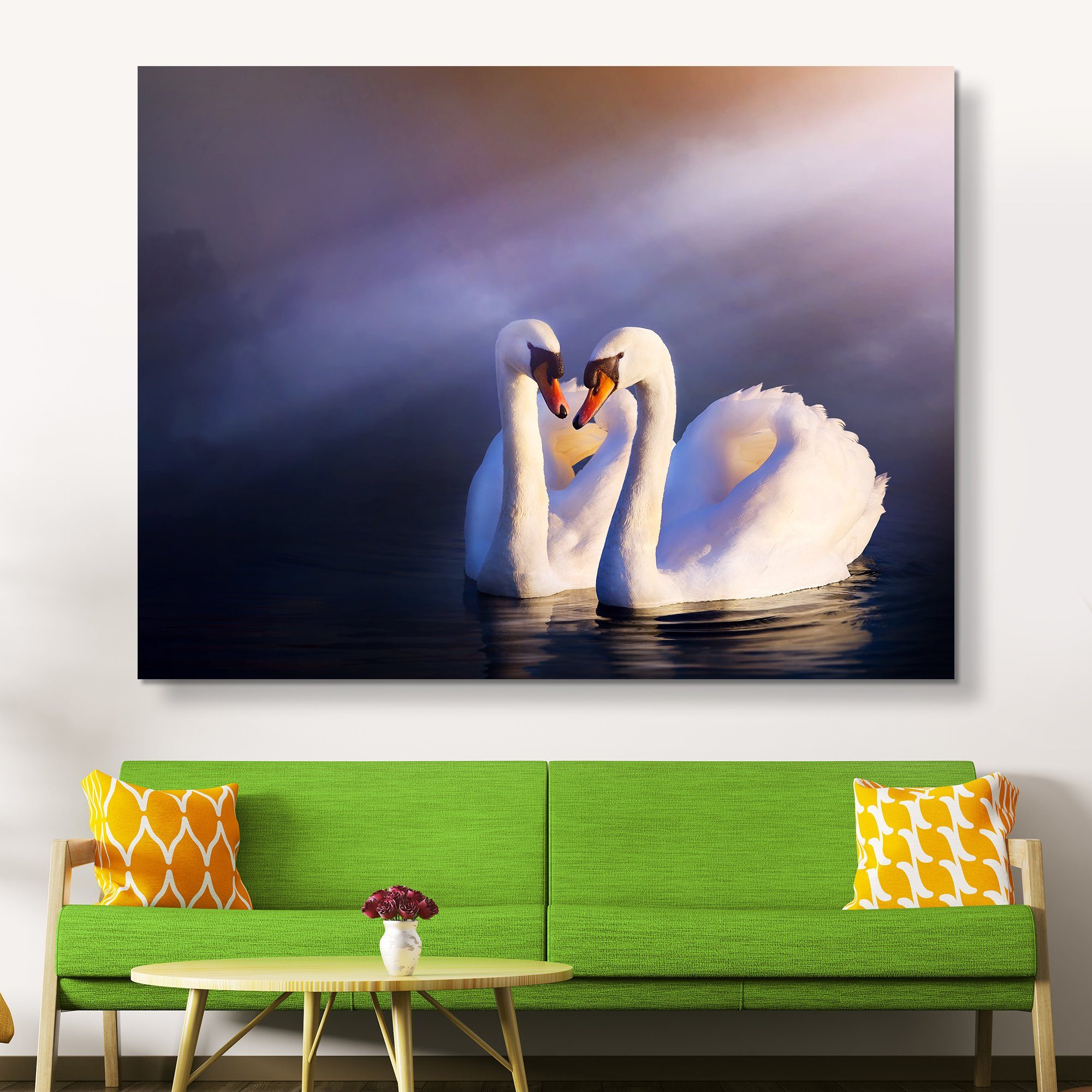 Swans in Love wall art