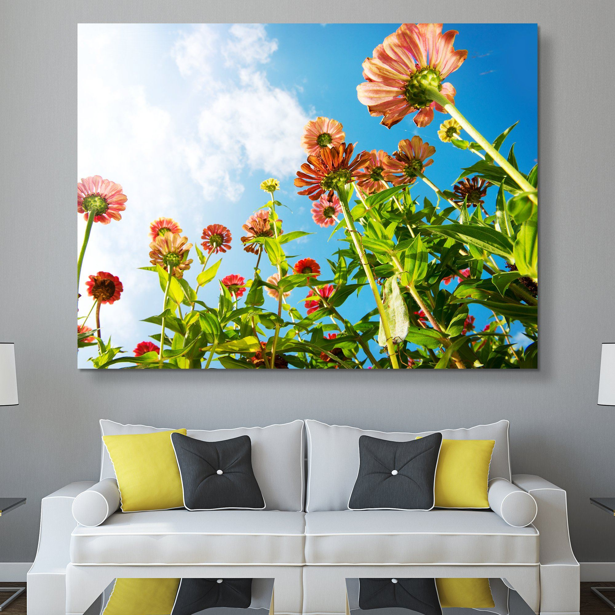 Flowers Over Blue Sky wall art