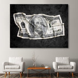 Crumpled Benjamin wall art