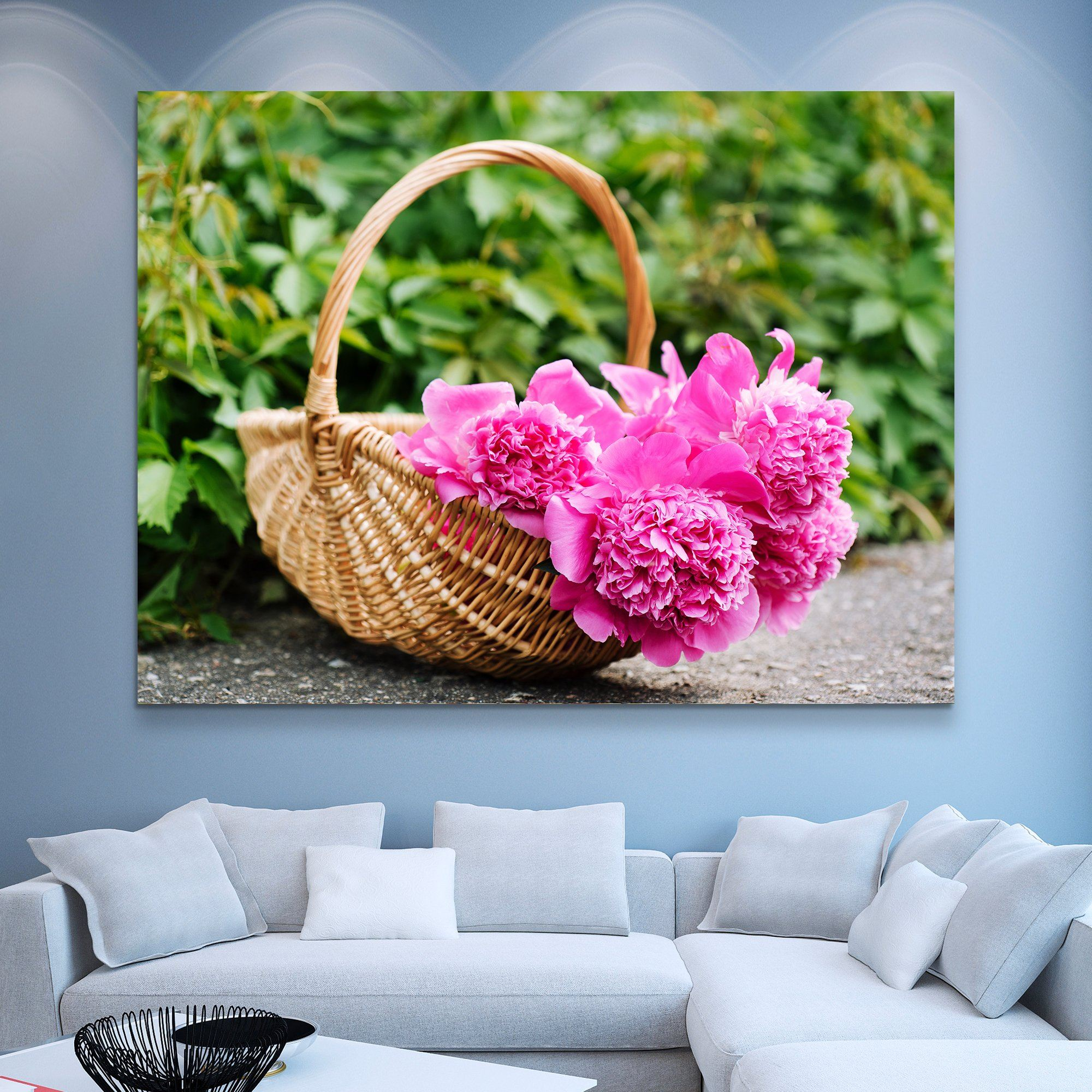 Peonies In A Basket wall art