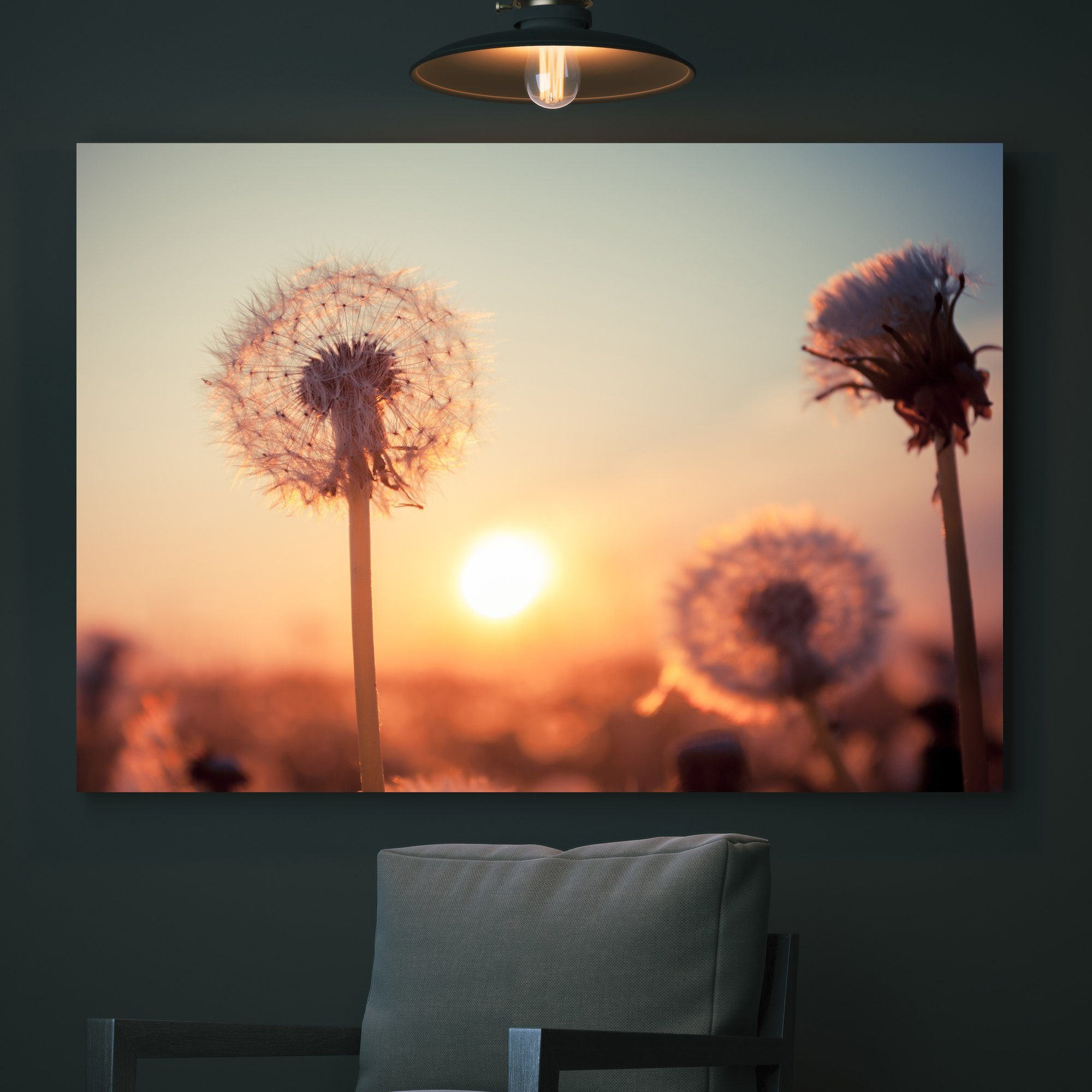 Dandelions at Sunset wall art