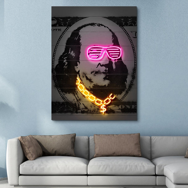 Neon Franklin wall art