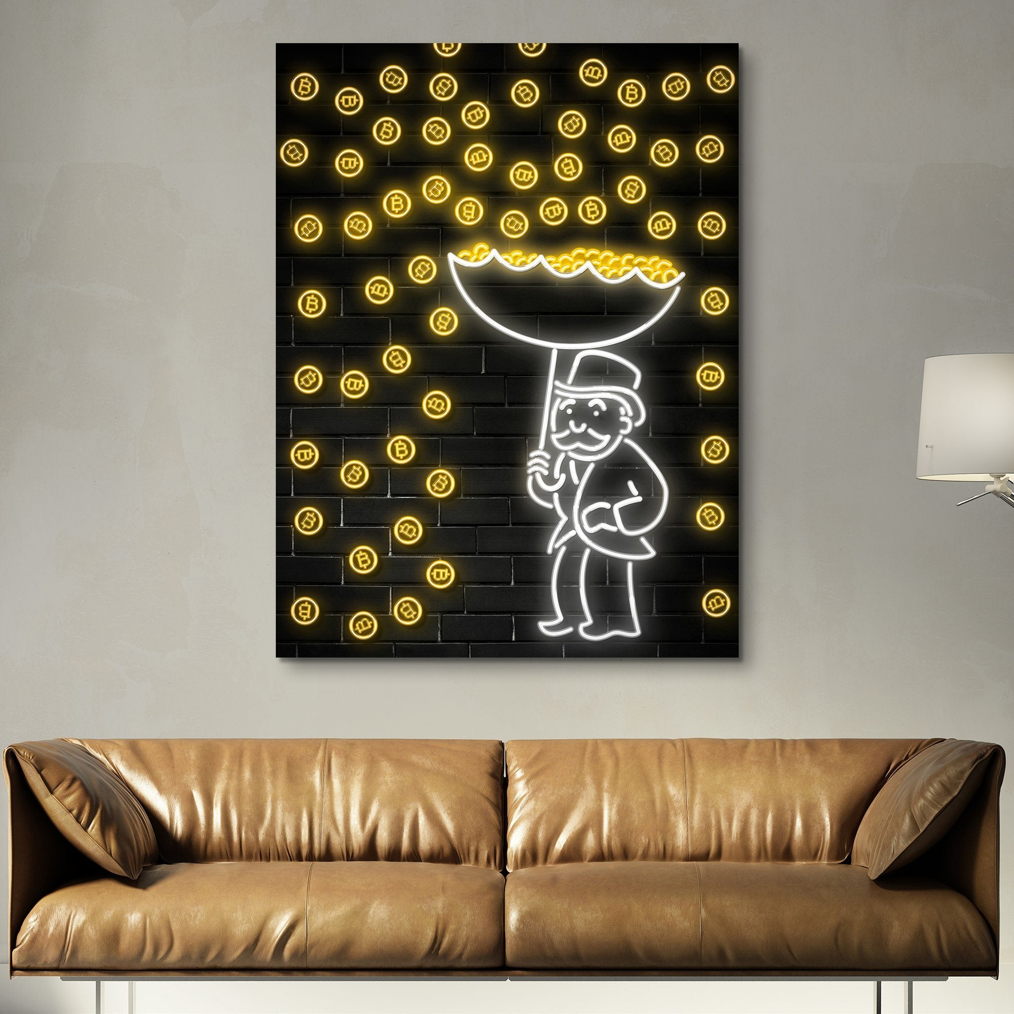 Bitcoin Rain wall art