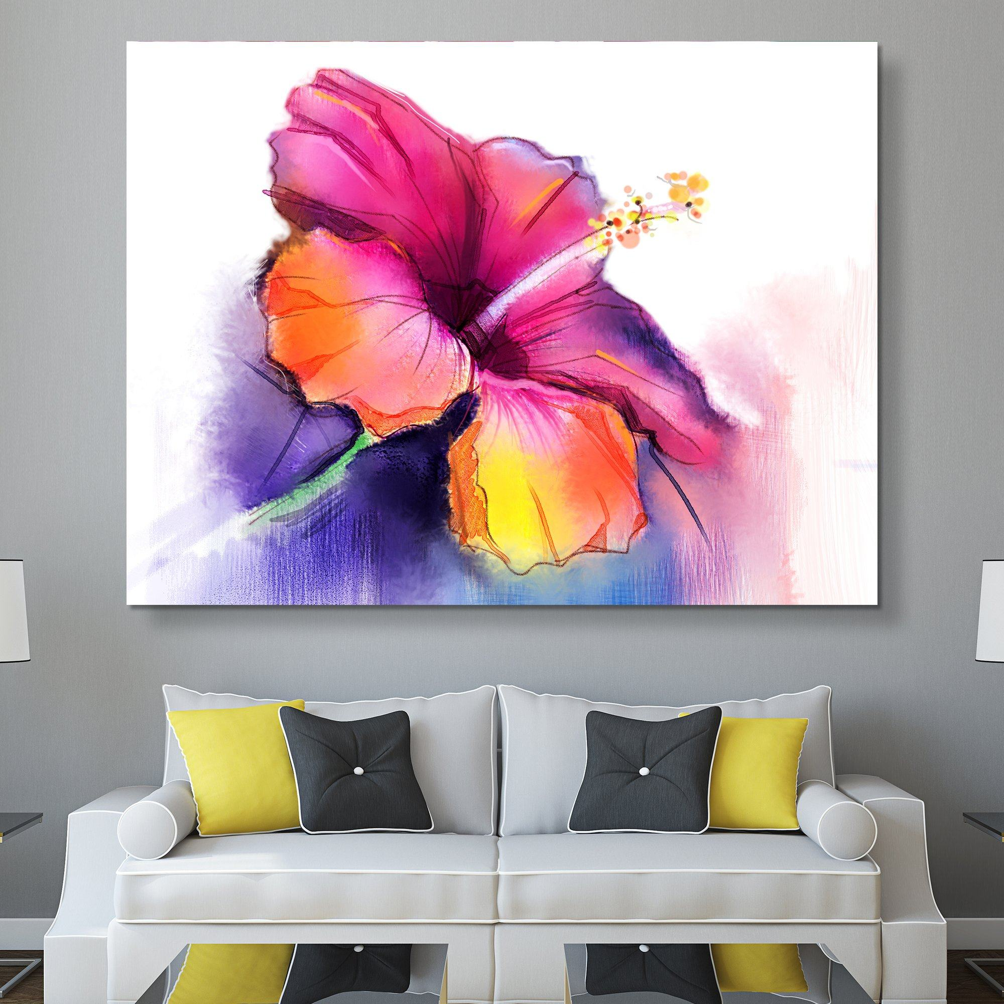 Abstract Hibiscus wall art