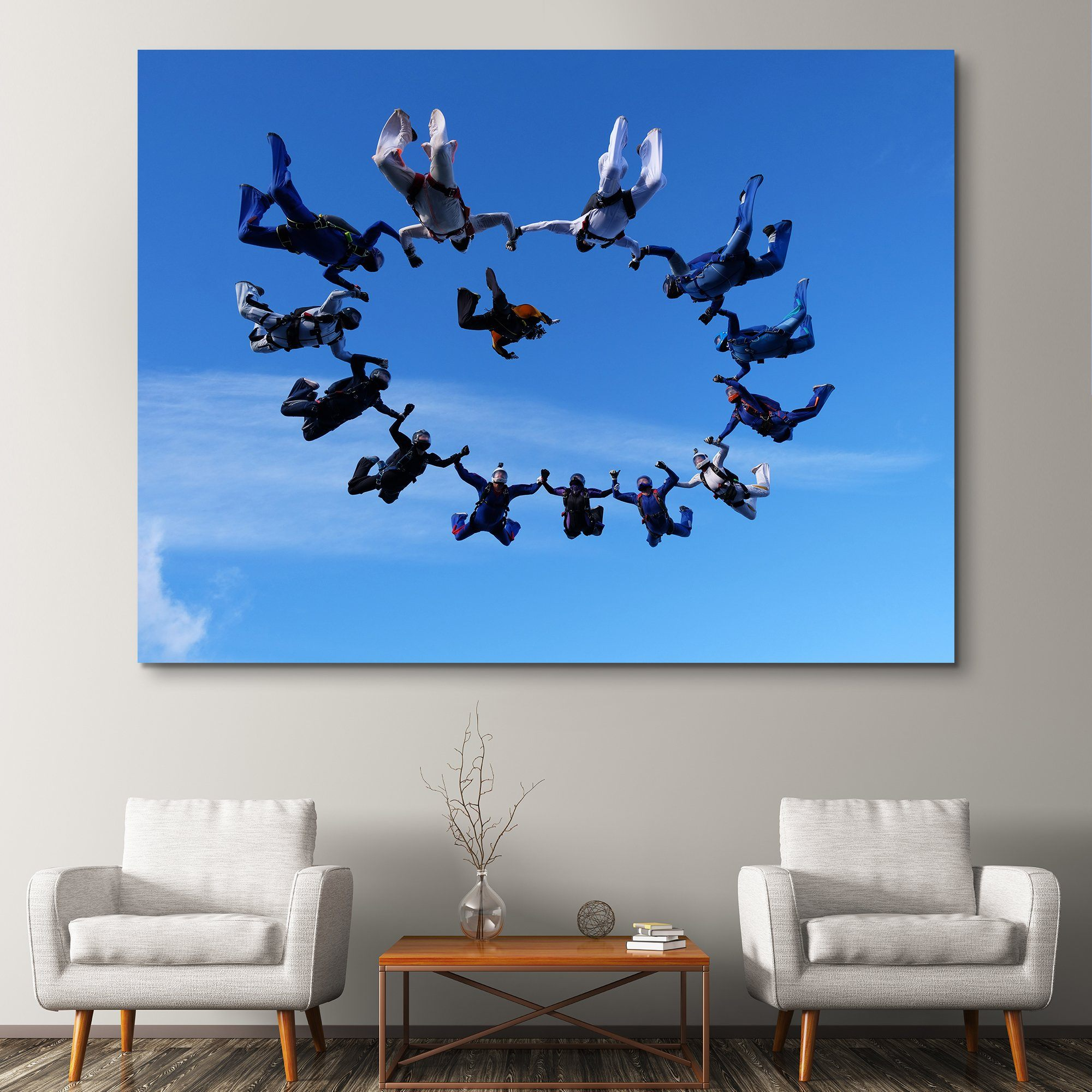 Group Sky Diving wall art