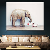 Baby and Elephant wall art