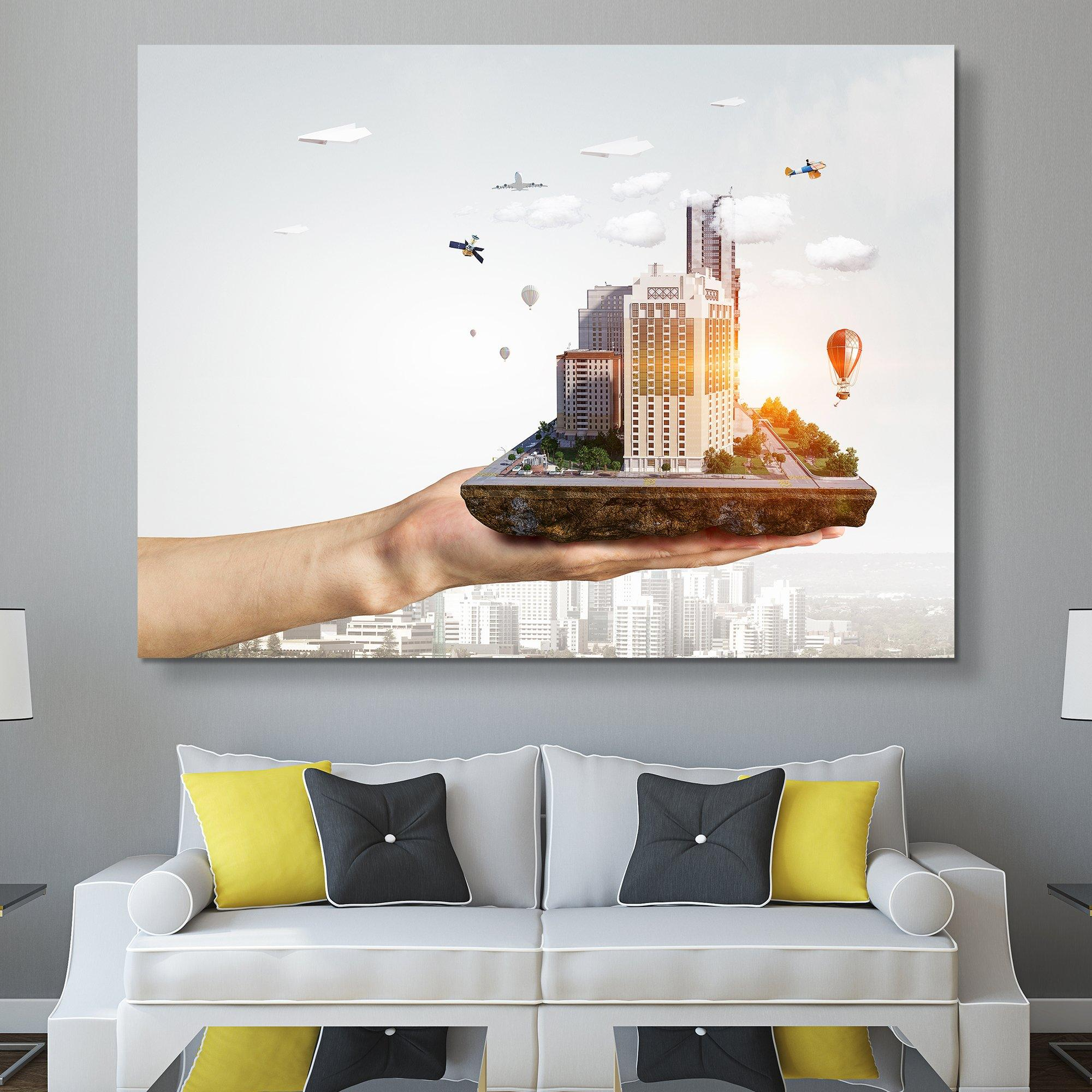 Composite photo city In the Palm of Your Hand wall art
