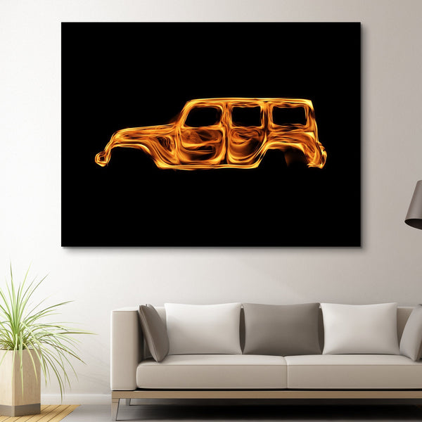 Jeep Wrangler Flame wall art