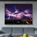Lightning Storm Over City wall art