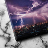 Lightning Storm Over City canvas art