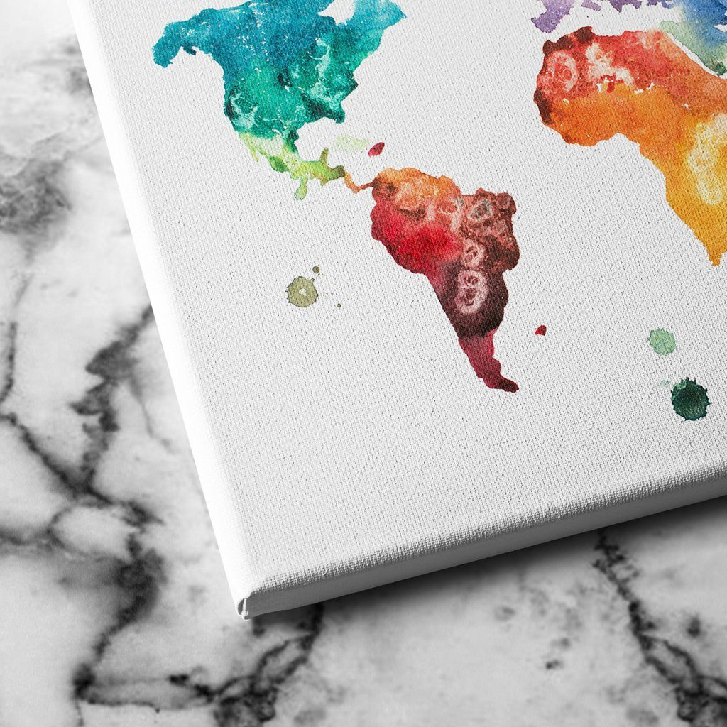 Watercolor World Map canvas art