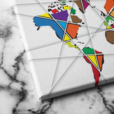 abstract polygon world map canvas art