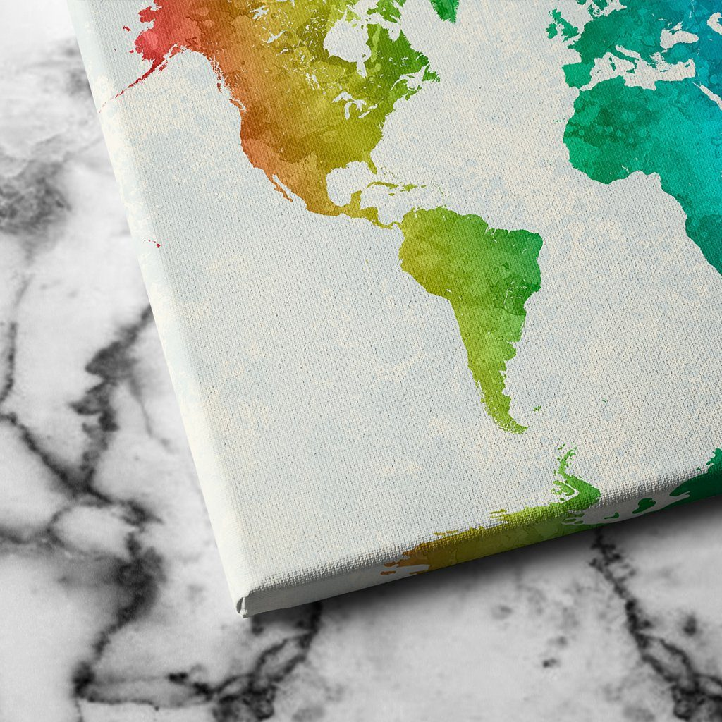 world map of colors canvas art