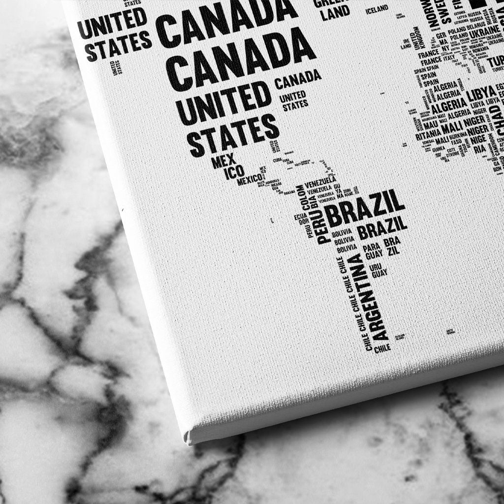 Typography World Map canvas art