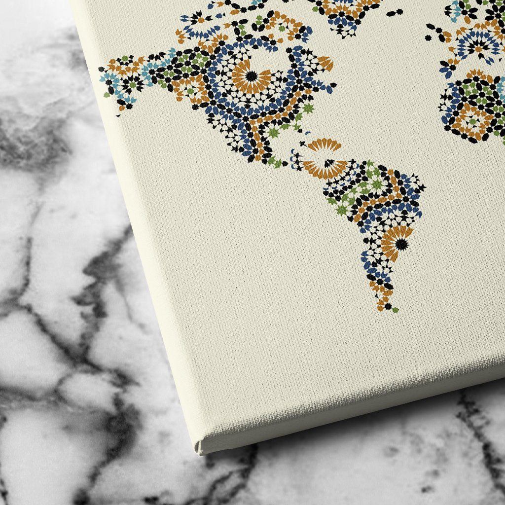 Morocco Mosaic World Map wall decor